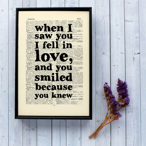 Typographic Love Quote Book Art - room signs