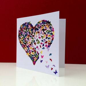 Kaleidoscope Butterfly Heart Card - wedding cards