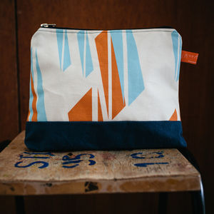 Compass Print Wash Bag With Waxed Cotton Base