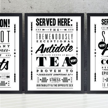 'Tea Antidote' Retro Notice Art Print