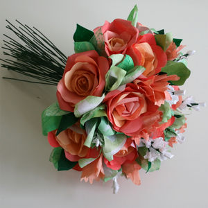 Coral Paper Rose Bouquet - table decorations