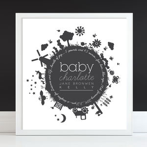 'Baby Bomb' Personalised New Baby Print - children's pictures & paintings