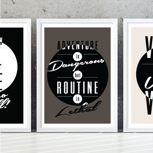 'Dangerous Adventure' Typography Art Print