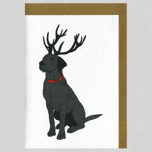 Illustrated Black Labrador Deer Blank Card