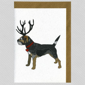 Illustrated Deer Blue Border Terrier Blank Card