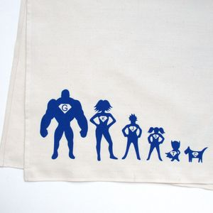 Personalised Tea Towel Superhero Family
