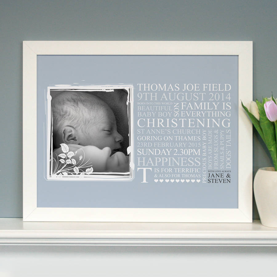 personalised baby christening art gift by cherry pete