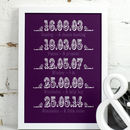 Medium purple Personalised Dates Art Print