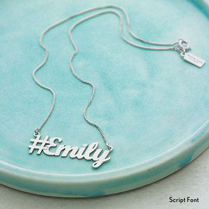 Personalised Hashtag Name Necklace - gifts for teenagers