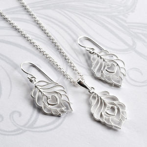 Silver Peacock Love Jewellery Set