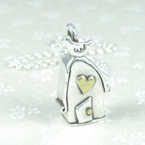 My Nest Silver House Charm With Bird And Gold Heart - necklaces & pendants