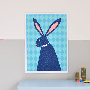 Rabbit Hand Screen Print - pictures & prints for children
