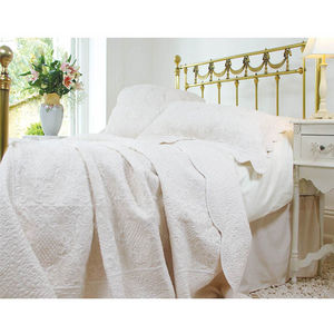 Cream French Toile Single Quilted Bedspread - bedspreads & quilts