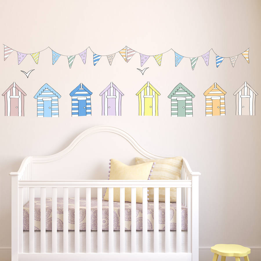 Beach huts wall stickers by parkins interiors for Beach wall mural sticker