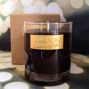 Joyful And Triumphant Scented Christmas Candle - candles & candle holders