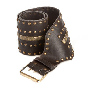 Wide Studded Leather Belt - belts