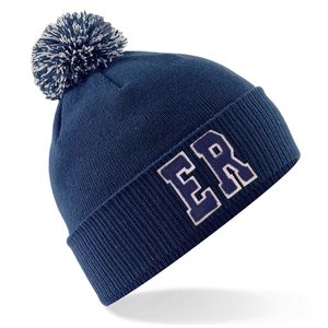 Personalised Navy Bobble Hat With Initials - stocking fillers under £15
