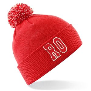 Personalised Red Bobble Hat With Initials