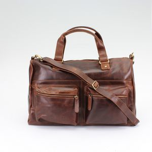 Vintage Brown Leather Travel Holdall - travel bags & luggage