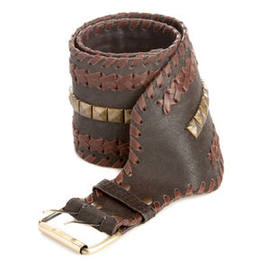 Wide Studded Leather Plait Belt - women's accessories sale