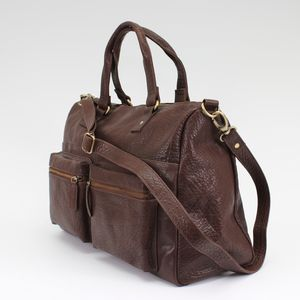 Brown Leather Travel Holdall - bags & purses