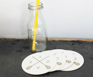 Letterpress Arrows Of Love Coasters Four - placemats & coasters