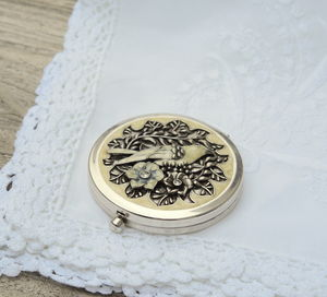 Vintage Style Songbird Compact Mirror