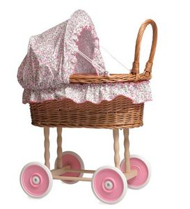Wicker Dolls' Pram With Pink Hood - doll's houses & accessories