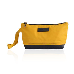 Reclaimed Rubber And Cotton Suede Pouch - wash & toiletry bags