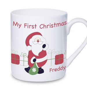 1st Christmas Personalised Santa Mug - tableware