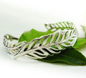 Silver Leaf Cuff Bangle - bracelets & bangles