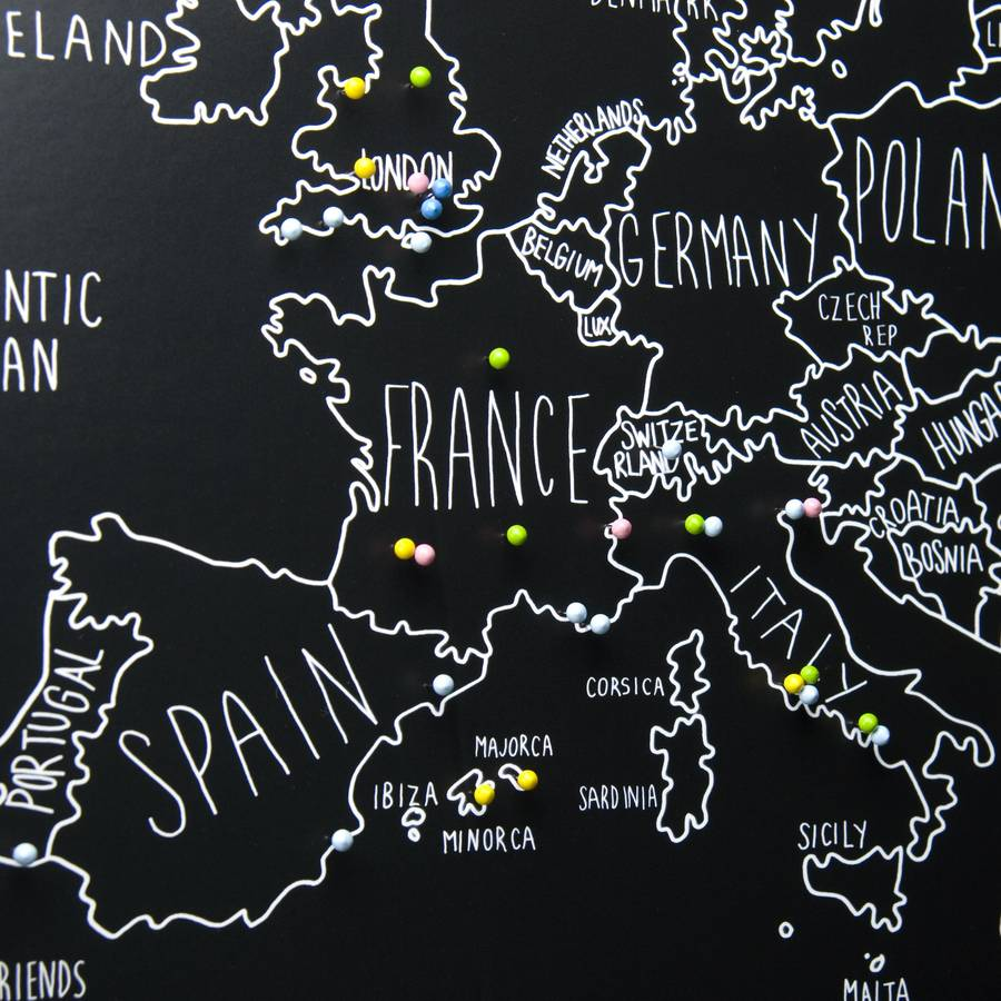 personalised europe map with pins by louisa elizabeth – Travel Map With Pins