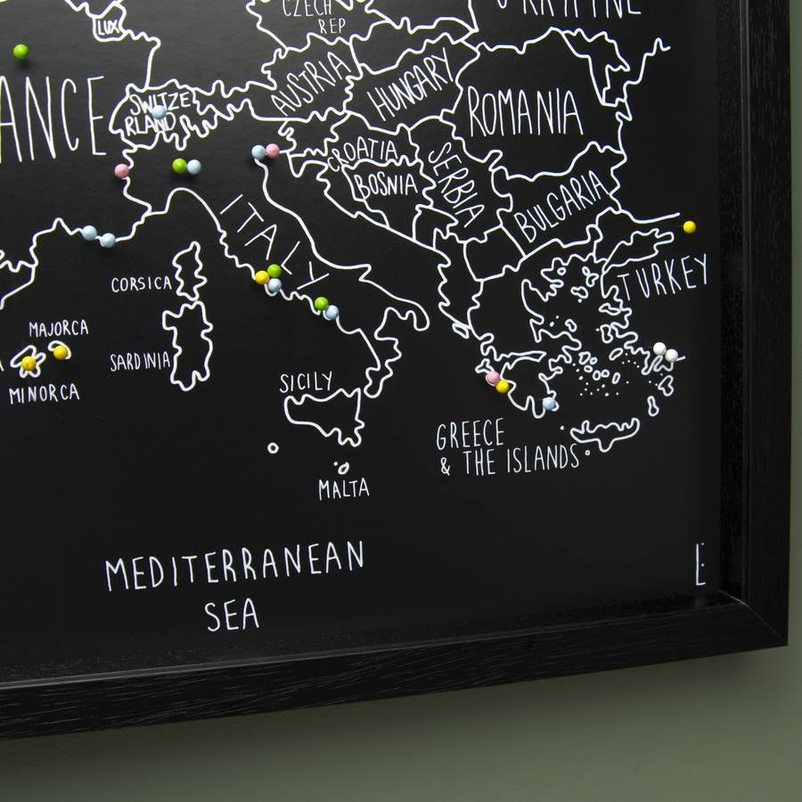 personalised europe map with pins by louisa elizabeth – Push Pin Travel Maps