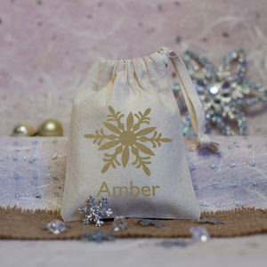 Personalised Snowflake Christmas Favour Bag - gift bags