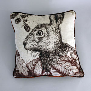 Game And Garden – Hare Cushion Brown - patterned cushions