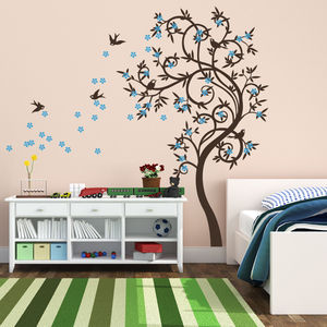 Stylish Curved Tree With Birds Wall Sticker - wall stickers