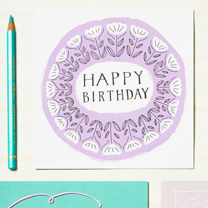 Birthday Card With Mid Century Florals - birthday cards