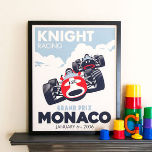 Personalised Racing Car Print - pictures & prints for children