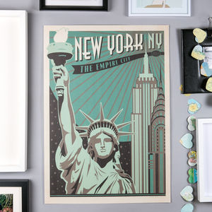 New York Empire City Retro Travel Print
