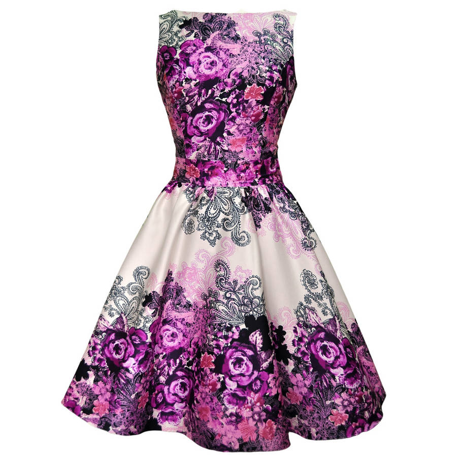 1950s Style Violet Rose Floral Border Collage Tea Dress By