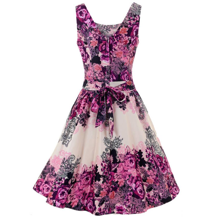 1950s Style Violet Rose Floral Border Collage Tea Dress By