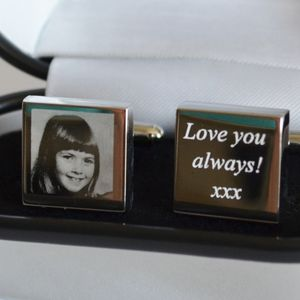 Personalised Engraved Photo Cufflinks - cufflinks