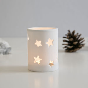White Porcelain Star Hole Votive - christmas lighting