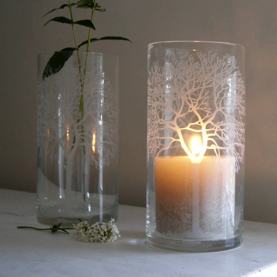 Woodland etched glass candleholder by red lilly for Used candle holders