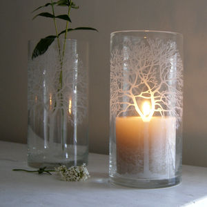 Woodland Etched Glass Candleholder - outdoor decorations