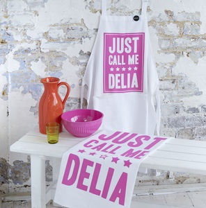 'Just Call Me Delia' Chef Apron And Tea Towel Set