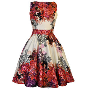1950s Style Rose Floral Border Collage Tea Dress