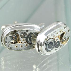 Watch Movement Year Dated Elgin Cufflinks - men's jewellery