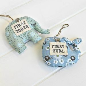 Elephant 'My First Tooth And Curl' Cushion