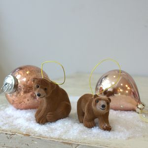 Set Of Two Flocked Bear Christmas Decorations - tree decorations